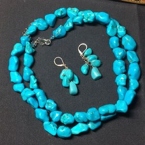 Natural Turquoise necklace and earrings set